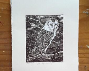 Barn owl in moonlight, engraving, print, printmaking,