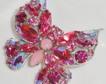 Designer Signed REGENCY Multi PinK AB Aurora Borealis Opaque Glass RhInEsToNe Figural BUTTERFLY BroocH