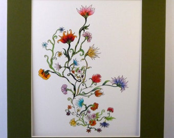 Colorful original art, vibrant flowers and vines, pen and ink drawing