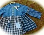 Boho Indigo Rustic Poets Tunic/Jacket Ethnic Patterns Blues Gypsy Cowgirl  Shabby Chic   Free Size
