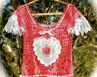 Sweet Marmalade Crocheted Top Romantic Rose Battenberg Butterfly Cap Big Heart Size Small