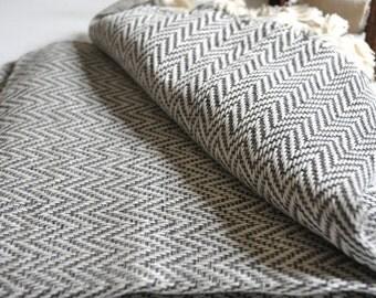 Chevron Pattern Turkish Towel Peshtemal towel in ivory Grey color Cotton Woven