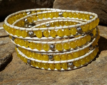 Yellow Jade Wrap Bracelet