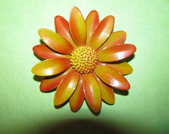 Vintage Mustard With Burnt Umber Color Enamel Flower Brooch Pin