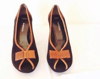 Scarpe vintage Marella eleganti camoscio nero marrone scuro rifilato in vitello stampato