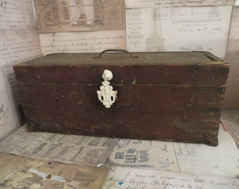 Vintage Wood Tool Chest, Carpenter's chest, Wood Tool Box,  Vintage Storage, Industrial Tool Box,