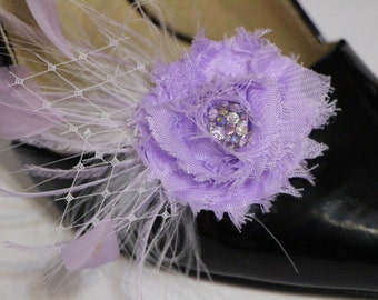 Shoes clips - lilac purple flower, feather and rhinestones