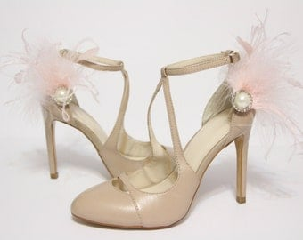 Shoe clips - blush pink feather, rhinestones and pearl