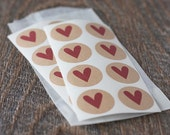"""Red Heart Round Kraft Stickers. 1"""" Circle Kraft Stickers. Set of 24 or 48. Letter Seals.  Self-Adhesive. Brown Kraft Stickers."""