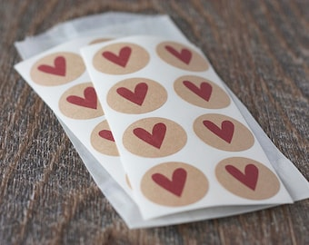 "Red Heart Round Kraft Stickers. 1"" Circle Kraft Stickers. Set of 24 or 48. Letter Seals.  Self-Adhesive. Brown Kraft Stickers."