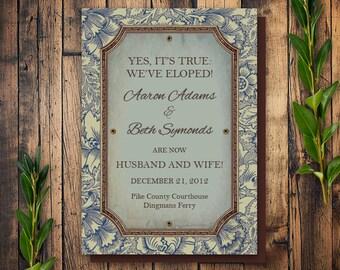 Printable Wedding Elopement Announcement, Elopement Wedding, Vintage Design for Elopement Announcement, Announcement of Elopement