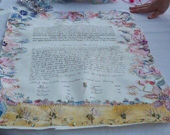 One of a kind customized ketubah-handscribbed and handpainted on parchment -watercolor, pearls and cristals