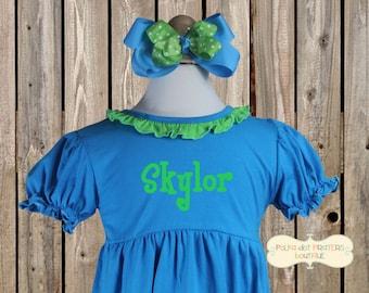 Aqua Blue and Lime Green Blank Knit Dress