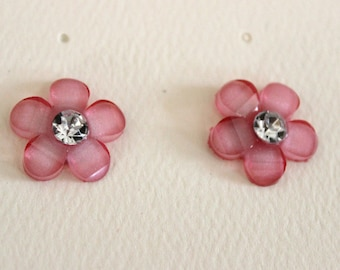 Medium Pink Flower Pierced Stud Earrings With Crystal Rhinestone Centers