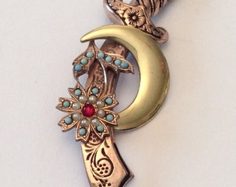 Crescent Moon Pin, Turquoise Sword Brooch, Designed by Coro, Sterling Silver, 1940s Vintage Jewelry, SUMMER SALE