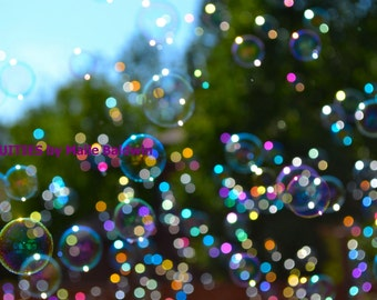Photograph of Bubbles in Summer Sunshine, fun wall art photography kids teens adults celebration home decor trees colorful