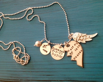 Custom Memorial necklace.  Personalized grief jewelry.  Half my heart is in heaven.  Loss of child, loss of spouse, relative.  Angel.