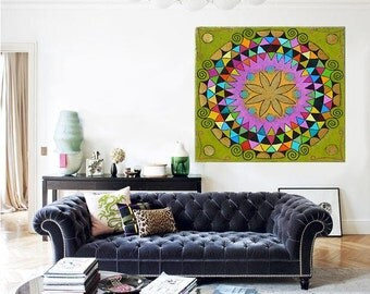 Art Print ON CANVAS! Giglee abstract print Mandala print wall art. contemporary art design