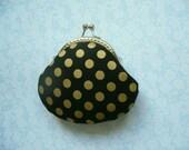 Metallic Gold Polka Dot in Black Coin Purse - Handmade Gift, Birthday Gift, Holiday Gift, Black, Gold