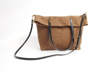 Fold 0ver Waxed CANVAS and LEATHER Tote Bag - Tan MAREE - Cross Body Adjustable Leather Shoulder Straps Market Shopper Bag by Holm