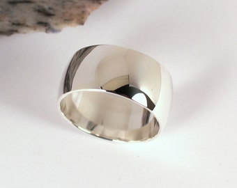 Wide Low Domed  Polished Silver Band Ring, 10mm Wide, Sterling Silver, Made to Order