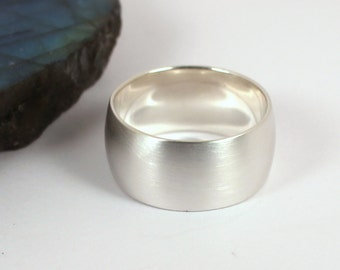 Wide Low Domed Brushed Silver Band Ring, 10mm Wide, Sterling Silver, Made to Order