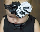 Chicago White Sox Shabby Chiffon Black & White Flower Headband Or Hair Clip Photo Prop Bow Newborn Girls Baby Felt Rose HEART