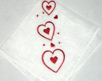 Vintage 50s embroidered red hearts handkerchief Valentines love hanky sweetheart