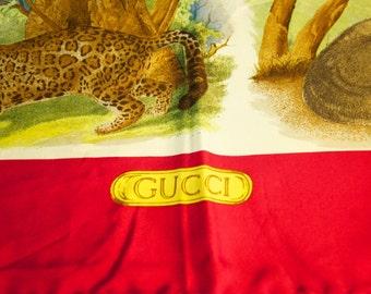 Vintage Authentic Gucci Silk Scarf