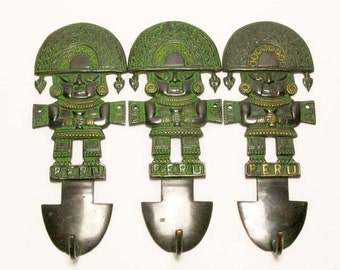 Three Bronze Peruvian Wall Hangings with hook, Coat Hooks, Set of Three Coat Hooks, Bronze Coat Hooks, Vintage Coat Hooks, Inca Coat Hooks