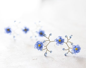 824_Flower hair pins, Pins for bride, Forget-me-not hair accessories, Blue flower pins, Gold hair pins, Hair accessories, Wedding hair piece