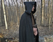 Renaissance Cape, Medieval Cloak, Hood, Viking, Ranger - Black