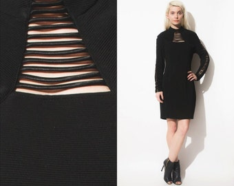Vintage 90s CAGE Long Sleeves Mini Body Con Dress // Cut Out // Turtle Neck
