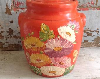 Vintage red orange Ransburg cookie jar, beautiful condition