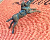 Antique metal blue horse toy - solid metal children horse game toy - old painted horse toy - vintage kids horse toy