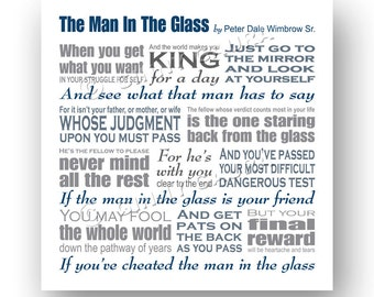 The Man in the Glass Poem by Peter Dale Wimbrow Sr - 8x8 Square Subway Style Print - Wall Art Home Decor Gift - Design by Ginny Gaura