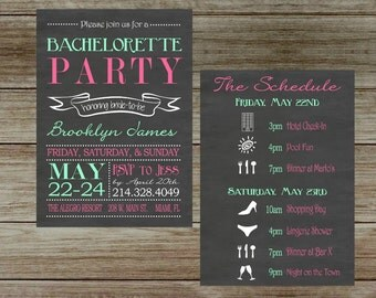 Chalkboard Bachelorette Party Invitation with Schedule Two Sided Invitation with Schedule,  Hen's Party