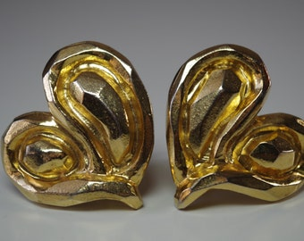 Vintage Emanuel Ungaro Gold Heart Earrings