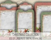 Digital Collage Sheet Download - Christmas Envelopes, Tags & Cards -  1146  - Digital Paper - Instant Download Printables