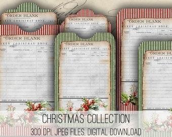 Digital Collage Sheet Download - Christmas Envelopes, Tags & Cards -  1146  - Digital Paper - Instant Download Printables