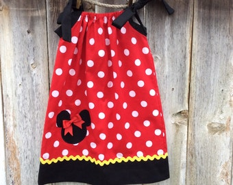 Minnie Mouse Pillowcase Dress with Yellow Trim