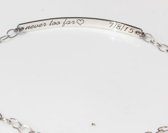 Double Sided Custom Engraved Bar Bracelet, Personalized Everyday Jewelry, Sterling Silver or Gold, Celebrity Inspired,
