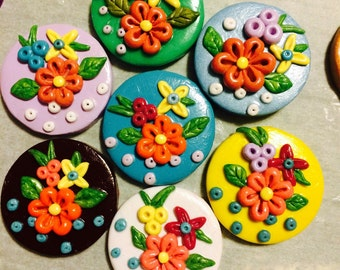 Polymer clay spring flowers brooch, pin or magnet...