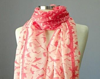 Little Bird scarf, long scarf, women scarf, spring scarf, animal pattern