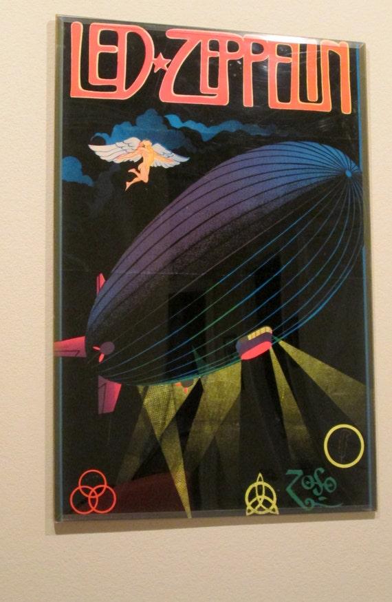 Original Black Light Poster Led Zeppelin In Plexi Glass