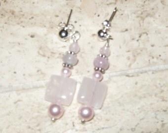 Hand Crafted Artisan Rose Quartz Pierced Earrings