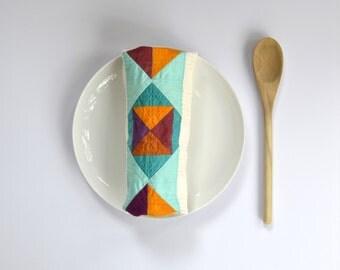 Geometric Kitchen Towel, Modern Kitchen Towel, Geometric Hand Towel, Hostess Gift, Under 20