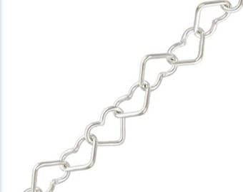 925 Sterling Silver 3.5mm Heart Link Cable Chain  (Sold By the Foot)