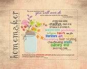 16x20 print, homemaker quotes, homemaker digital art, printable art, mothers day flowers, mothers digital art, mother quotes, housewife art,
