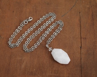 Rose Quartz Gemstone & Swarovski Crystal Pendant on an Antique Silver Cable Chain. Long necklace; great for Layering!